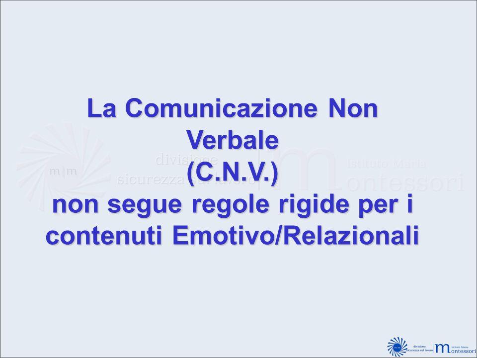 La Comunicazione Non Verbale (C.N.V.) non segue regole rigide per i contenuti Emotivo/Relazionali