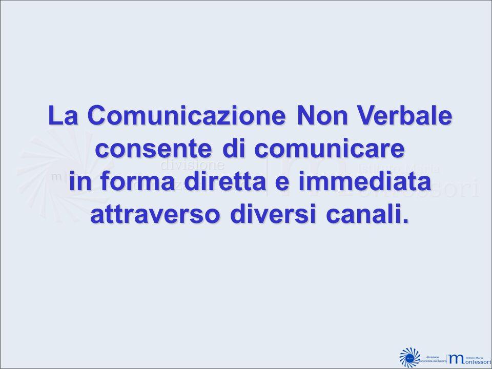 La Comunicazione Non Verbale consente di comunicare in forma diretta e immediata attraverso diversi canali.