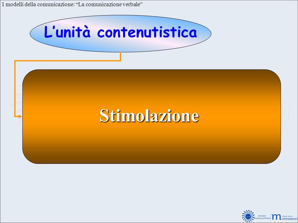 I modelli della comunicazione: La comunicazione verbale Lunità contenutistica Stimolazione