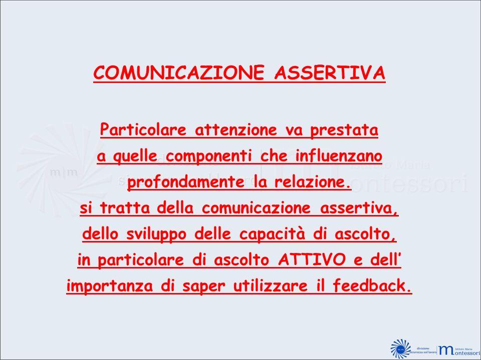 COMUNICAZIONE ASSERTIVA Particolare attenzione va prestata a quelle componenti che influenzano profondamente la relazione. si tratta della comunicazio