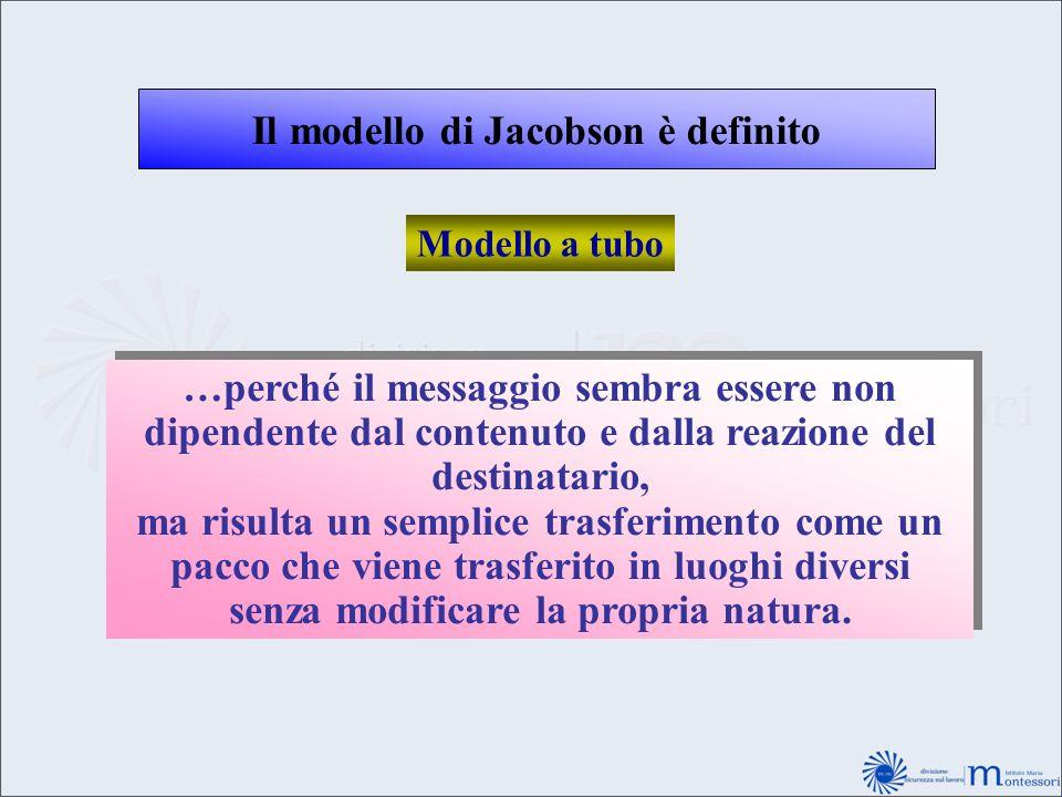 Il modello di Jacobson è definito Modello a tubo …perché il messaggio sembra essere non dipendente dal contenuto e dalla reazione del destinatario, ma