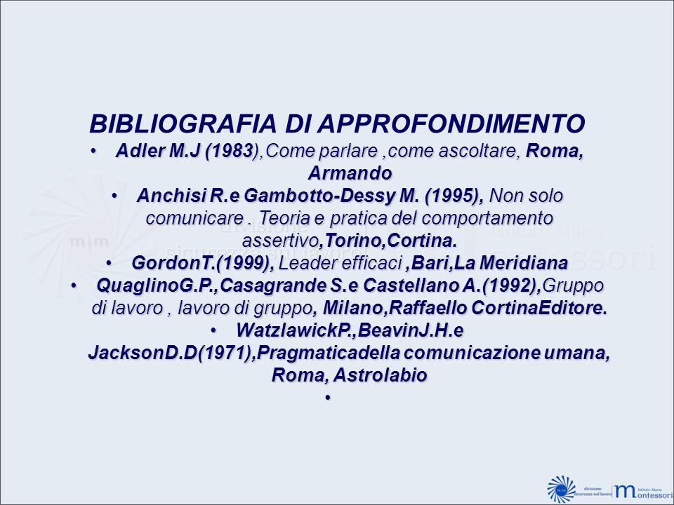 BIBLIOGRAFIA DI APPROFONDIMENTO Adler M.J (1983),Come parlare,come ascoltare, Roma, ArmandoAdler M.J (1983),Come parlare,come ascoltare, Roma, Armando