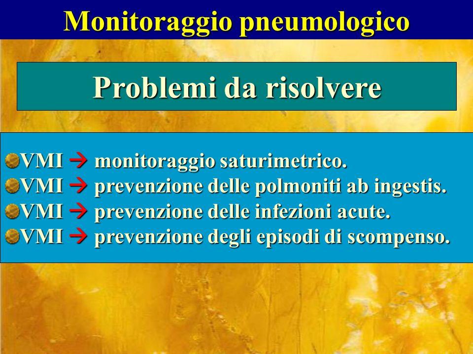 Monitoraggio pneumologico Problemi da risolvere VMI monitoraggio saturimetrico. VMI prevenzione delle polmoniti ab ingestis. VMI prevenzione delle inf