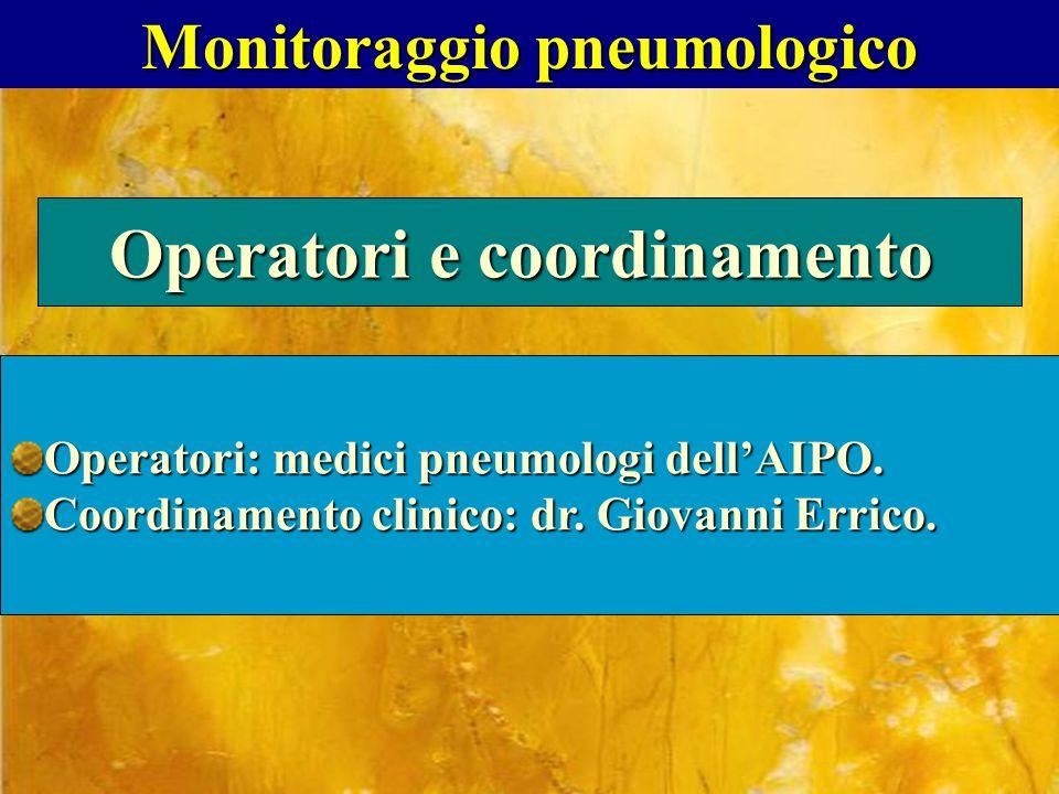 Monitoraggio pneumologico Operatori e coordinamento Operatori: medici pneumologi dellAIPO. Coordinamento clinico: dr. Giovanni Errico.