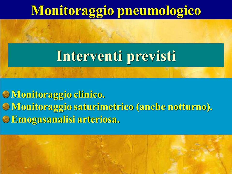 Monitoraggio pneumologico Interventi previsti Monitoraggio clinico. Monitoraggio saturimetrico (anche notturno). Emogasanalisi arteriosa.