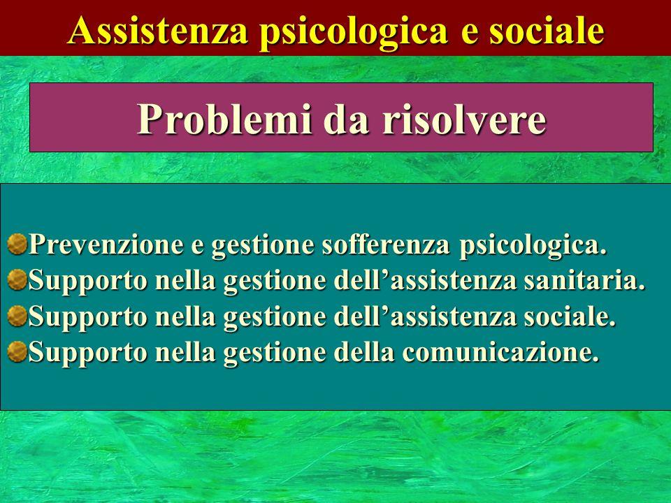 Assistenza psicologica e sociale Problemi da risolvere Prevenzione e gestione sofferenza psicologica. Supporto nella gestione dellassistenza sanitaria