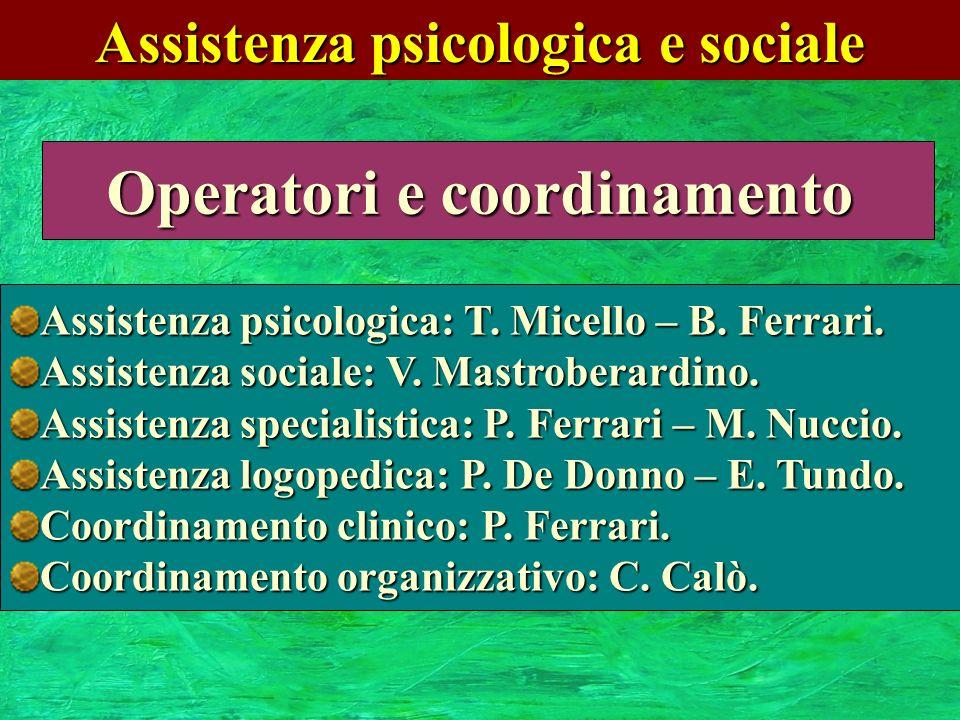 Assistenza psicologica e sociale Operatori e coordinamento Assistenza psicologica: T. Micello – B. Ferrari. Assistenza sociale: V. Mastroberardino. As
