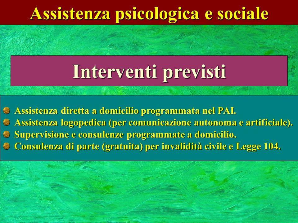 Assistenza psicologica e sociale Interventi previsti Assistenza diretta a domicilio programmata nel PAI. Assistenza logopedica (per comunicazione auto