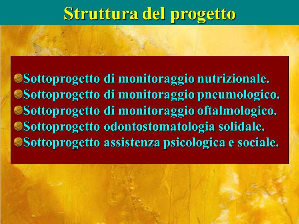 Struttura del progetto Sottoprogetto di monitoraggio nutrizionale. Sottoprogetto di monitoraggio pneumologico. Sottoprogetto di monitoraggio oftalmolo