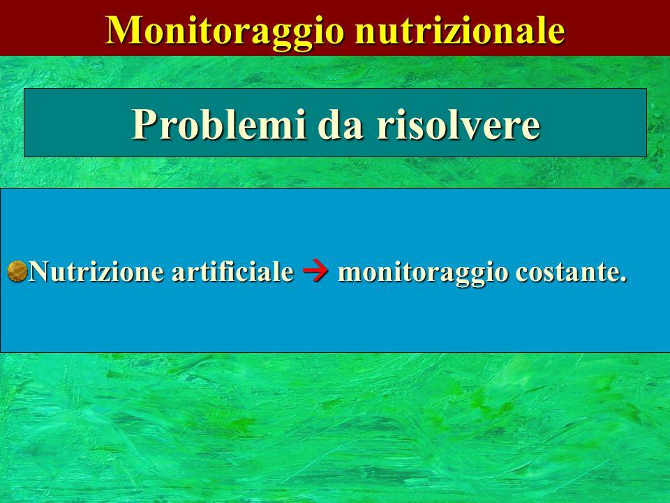 Monitoraggio nutrizionale Problemi da risolvere Nutrizione artificiale monitoraggio costante.
