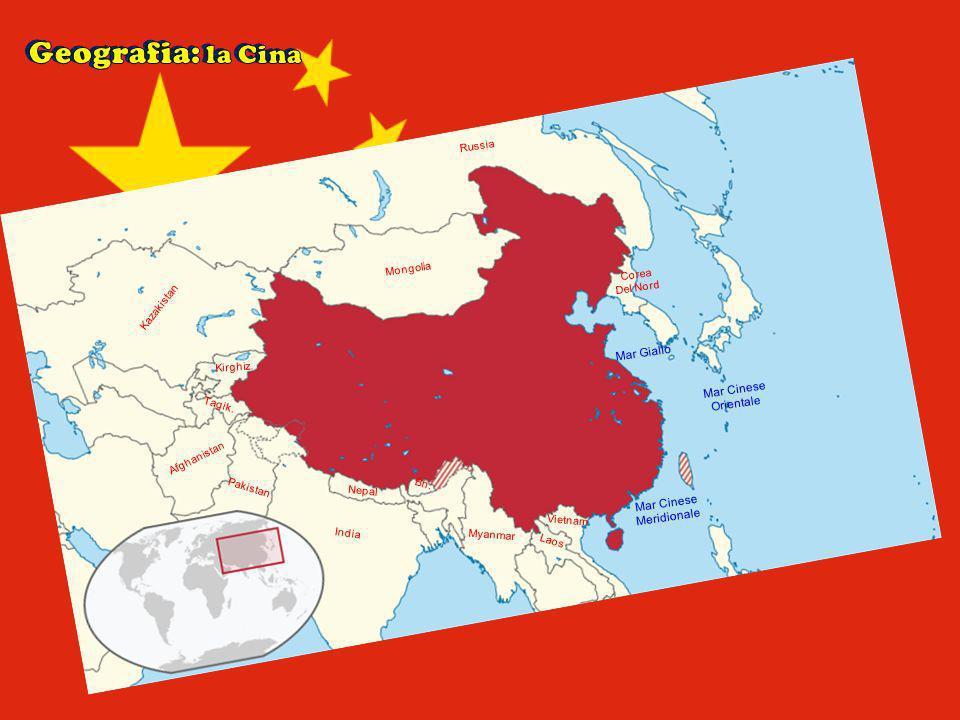 Mongolia Kazakistan Kirghiz. Pakistan Tagik. Afghanistan India Nepal Bh. Myanmar Laos Vietnam Russia Corea Del Nord Mar Giallo Mar Cinese Orientale Ma