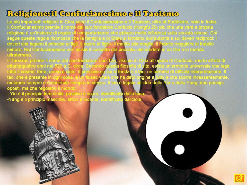 Le più importanti religioni in Cina sono il Confucianesimo e il Taoismo, oltre al Buddismo, nato in India. Il Confucianesimo prende il nome dal suo fo