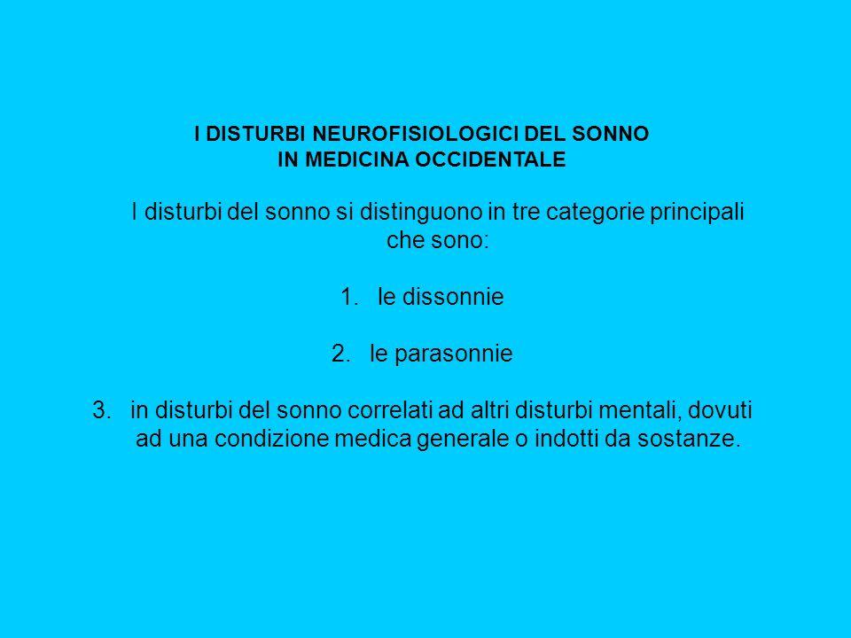 I DISTURBI NEUROFISIOLOGICI DEL SONNO IN MEDICINA OCCIDENTALE I disturbi del sonno si distinguono in tre categorie principali che sono: 1.
