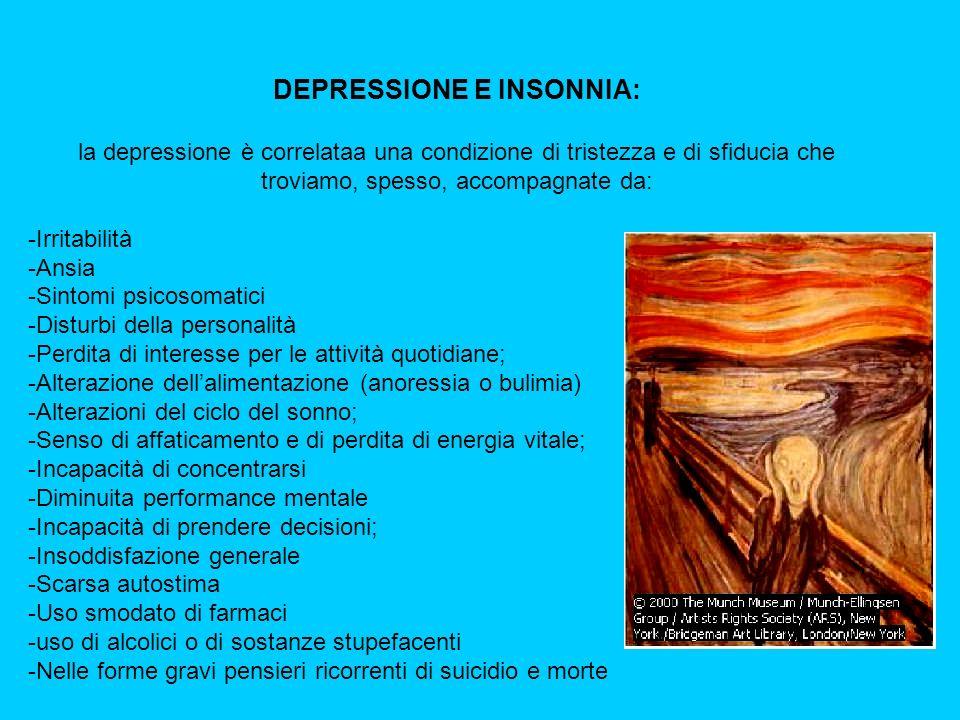 DEPRESSIONE E INSONNIA: la depressione è correlataa una condizione di tristezza e di sfiducia che troviamo, spesso, accompagnate da: -Irritabilità -Ansia -Sintomi psicosomatici -Disturbi della personalità -Perdita di interesse per le attività quotidiane; -Alterazione dellalimentazione (anoressia o bulimia) -Alterazioni del ciclo del sonno; -Senso di affaticamento e di perdita di energia vitale; -Incapacità di concentrarsi -Diminuita performance mentale -Incapacità di prendere decisioni; -Insoddisfazione generale -Scarsa autostima -Uso smodato di farmaci -uso di alcolici o di sostanze stupefacenti -Nelle forme gravi pensieri ricorrenti di suicidio e morte