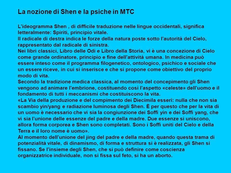La nozione di Shen e la psiche in MTC L ideogramma Shen, di difficile traduzione nelle lingue occidentali, significa letteralmente: Spiriti, principio vitale.