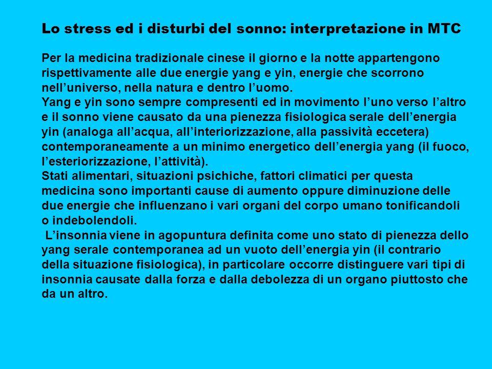 Lo stress ed i disturbi del sonno: interpretazione in MTC Per la medicina tradizionale cinese il giorno e la notte appartengono rispettivamente alle due energie yang e yin, energie che scorrono nelluniverso, nella natura e dentro luomo.