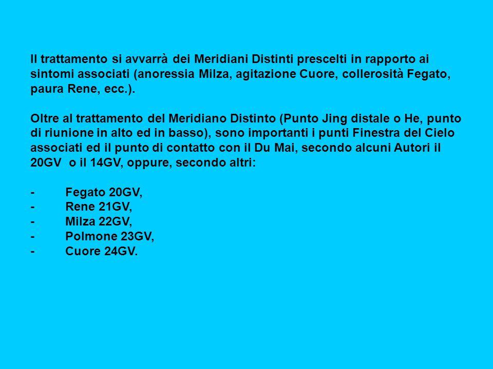 Il trattamento si avvarrà dei Meridiani Distinti prescelti in rapporto ai sintomi associati (anoressia Milza, agitazione Cuore, collerosità Fegato, paura Rene, ecc.).
