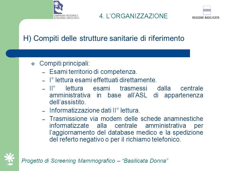 Progetto di Screening Mammografico – Basilicata Donna G) Composizione e compiti della centrale amministrativa Responsabile Organizzativo Funzione tecn