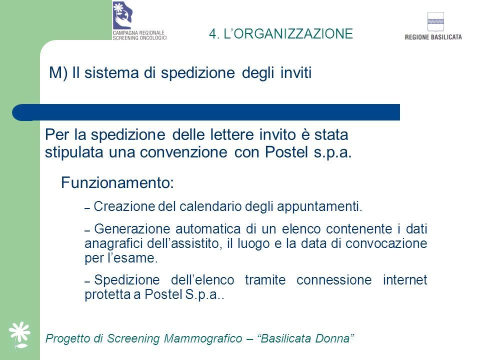 L) Attività del numero verde della centrale amministrativa Progetto di Screening Mammografico – Basilicata Donna Funzionamento: 12 ore al giorno per t