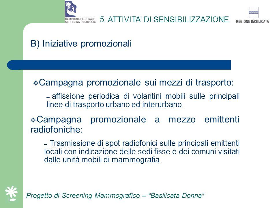 Progetto di Screening Mammografico – Basilicata Donna A)Iniziative promozionali 5. ATTIVITA DI SENSIBILIZZAZIONE Campagna promozionale a mezzo stampa: