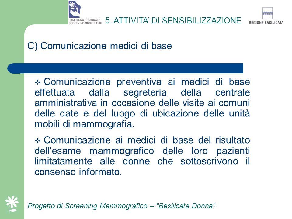 Progetto di Screening Mammografico – Basilicata Donna B) Iniziative promozionali Campagna promozionale a mezzo emittenti radiofoniche: – Trasmissione