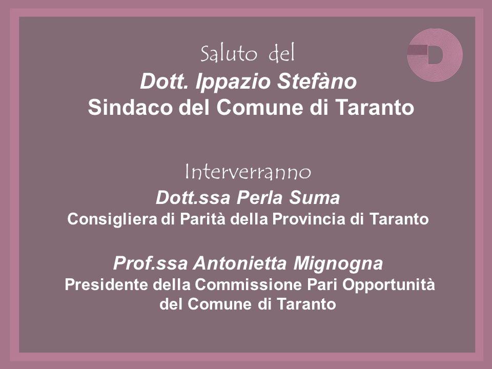 Saluto del Dott. Ippazio Stefàno Sindaco del Comune di Taranto Interverranno Dott.ssa Perla Suma Consigliera di Parità della Provincia di Taranto Prof