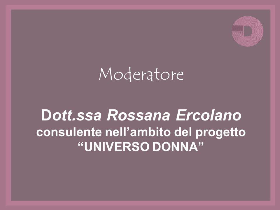 Moderatore Dott.ssa Rossana Ercolano consulente nellambito del progetto UNIVERSO DONNA