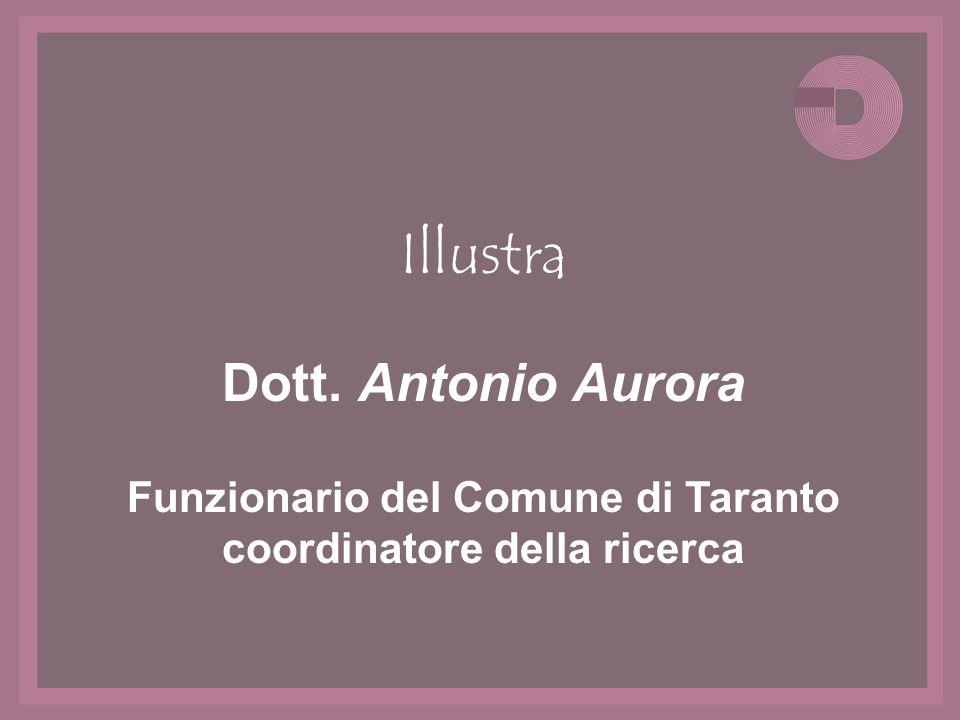 Illustra Dott. Antonio Aurora Funzionario del Comune di Taranto coordinatore della ricerca