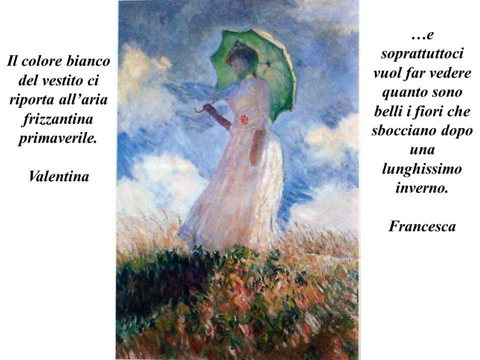 Il colore bianco del vestito ci riporta allaria frizzantina primaverile. Valentina …e soprattuttoci vuol far vedere quanto sono belli i fiori che sboc