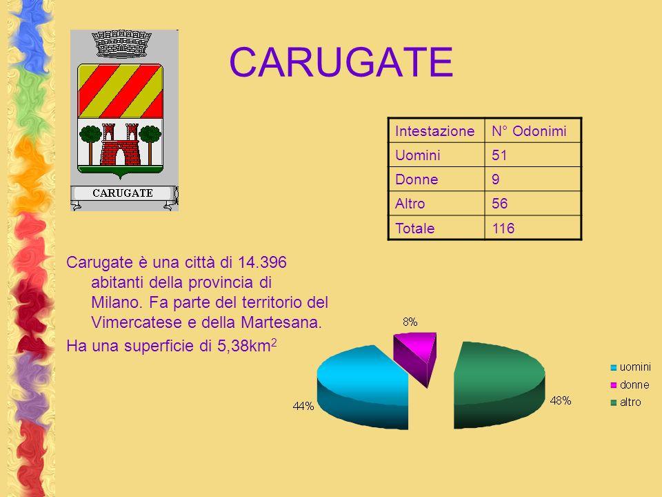 CARUGATE Carugate è una città di 14.396 abitanti della provincia di Milano. Fa parte del territorio del Vimercatese e della Martesana. Ha una superfic