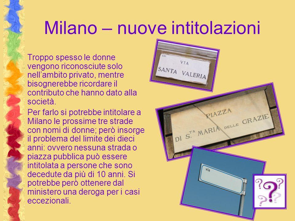 Milano – nuove intitolazioni Troppo spesso le donne vengono riconosciute solo nellambito privato, mentre bisognerebbe ricordare il contributo che hanno dato alla società.