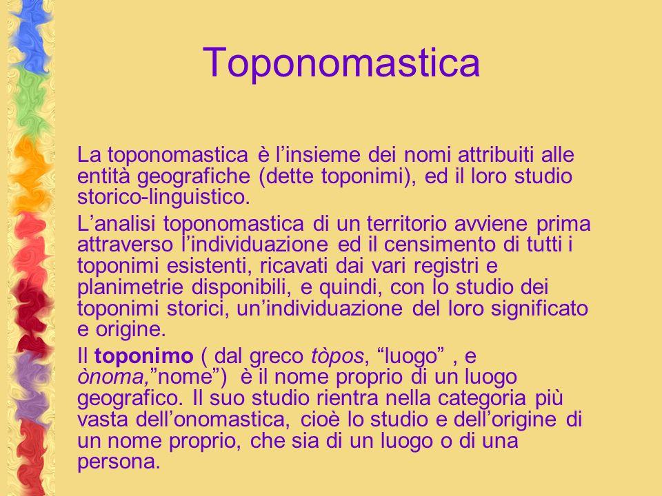 Toponomastica La toponomastica è linsieme dei nomi attribuiti alle entità geografiche (dette toponimi), ed il loro studio storico-linguistico. Lanalis