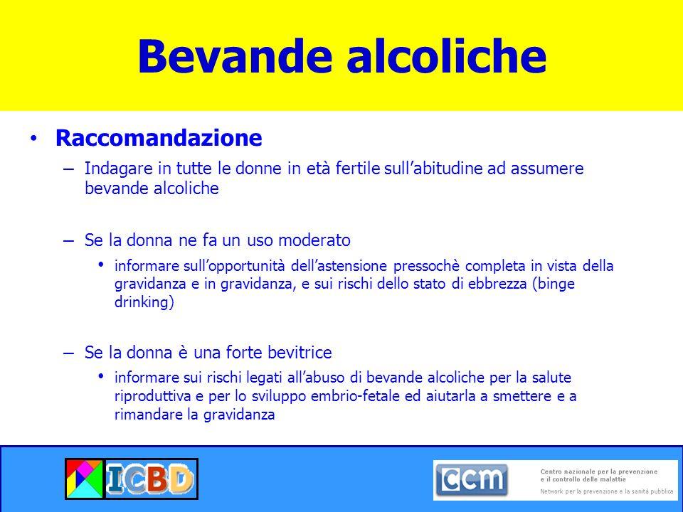 Raccomandazione – Indagare in tutte le donne in età fertile sullabitudine ad assumere bevande alcoliche – Se la donna ne fa un uso moderato informare