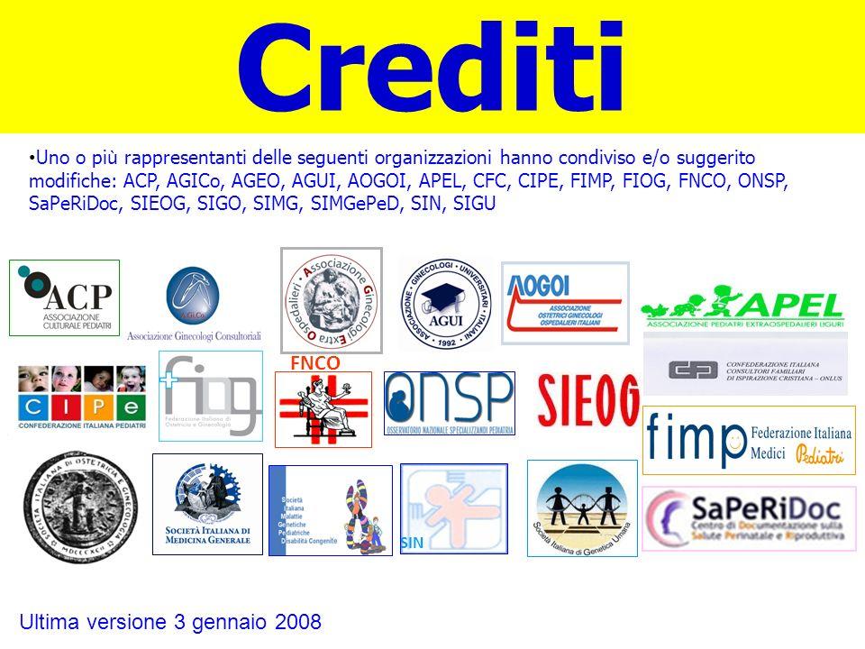Uno o pi ù rappresentanti delle seguenti organizzazioni hanno condiviso e/o suggerito modifiche: ACP, AGICo, AGEO, AGUI, AOGOI, APEL, CFC, CIPE, FIMP,