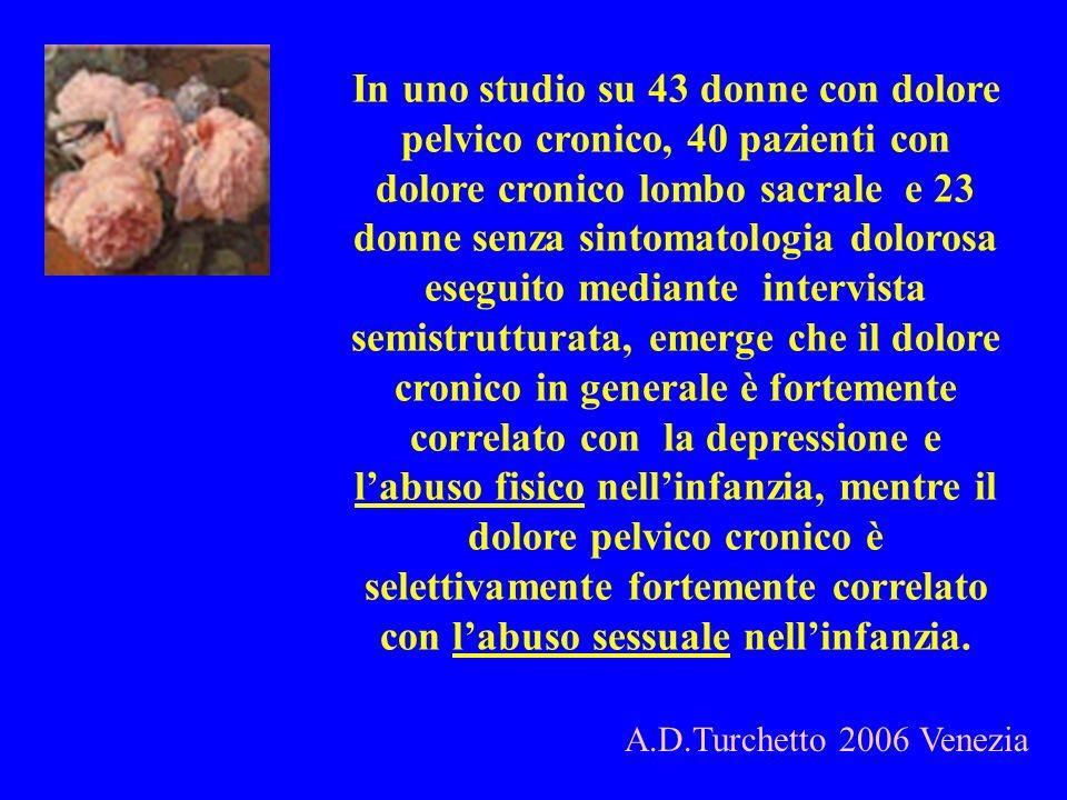 In uno studio su 43 donne con dolore pelvico cronico, 40 pazienti con dolore cronico lombo sacrale e 23 donne senza sintomatologia dolorosa eseguito m