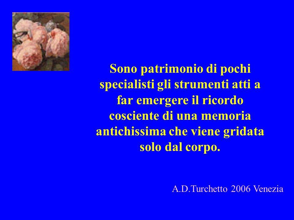 A.D.Turchetto 2006 Venezia Sono patrimonio di pochi specialisti gli strumenti atti a far emergere il ricordo cosciente di una memoria antichissima che