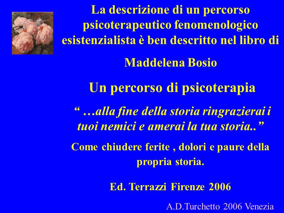 La descrizione di un percorso psicoterapeutico fenomenologico esistenzialista è ben descritto nel libro di Maddelena Bosio Un percorso di psicoterapia