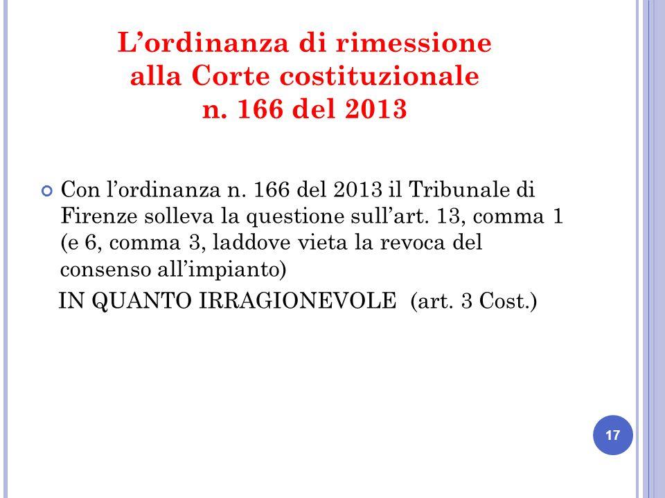 Lordinanza di rimessione alla Corte costituzionale n.