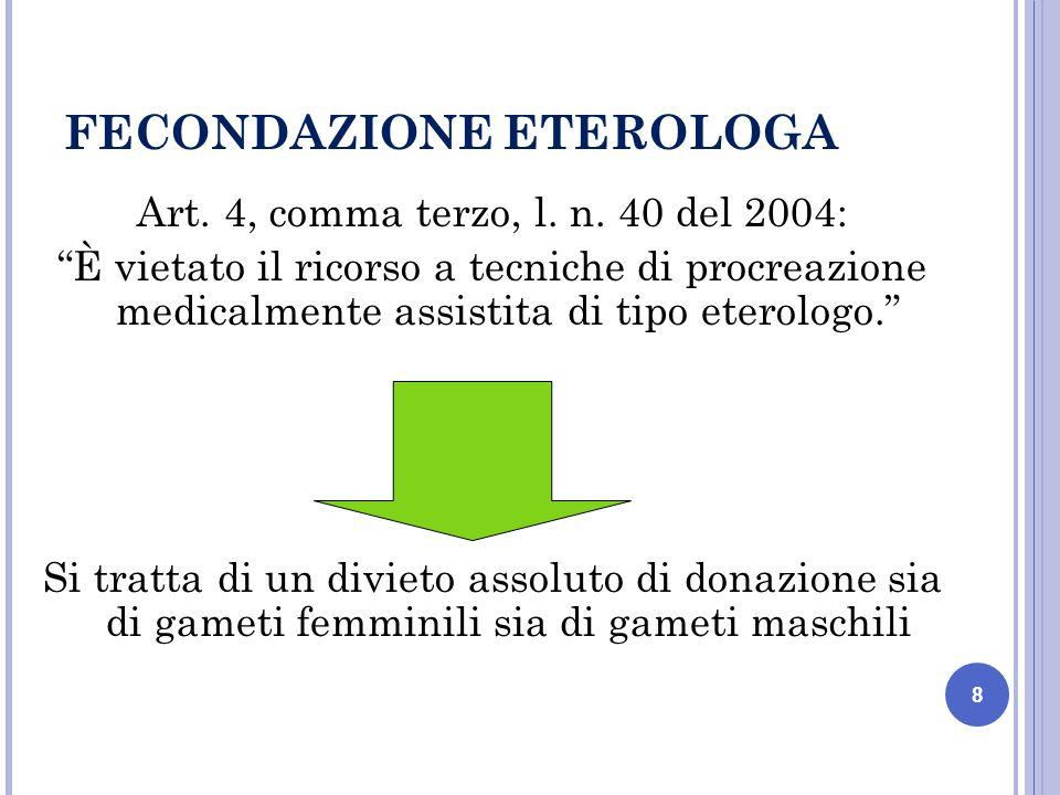 8 FECONDAZIONE ETEROLOGA Art. 4, comma terzo, l. n.