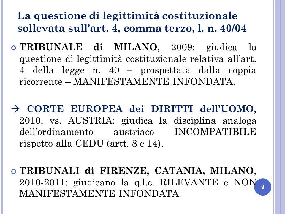 10 GRANDE CAMERA della CORTE EDU, 2011 : giudica COMPATIBILE alla CEDU il divieto austriaco di donazione di gameti Tale decisione definitiva sul caso austriaco conduce la CORTE COSTITUZIONALE a ordinare la RESTITUZIONE degli ATTI (ord.