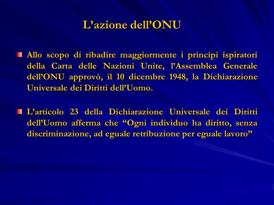 Lazione dellONU Lazione dellONU Allo scopo di ribadire maggiormente i principi ispiratori della Carta delle Nazioni Unite, lAssemblea Generale dellONU