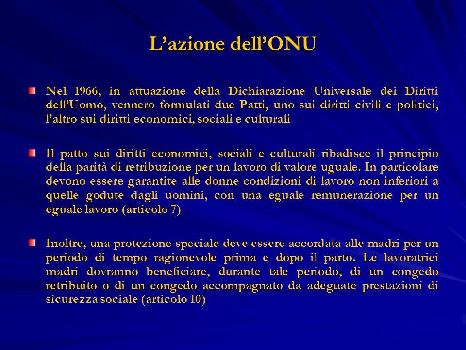 Lazione dellONU Nel 1966, in attuazione della Dichiarazione Universale dei Diritti dellUomo, vennero formulati due Patti, uno sui diritti civili e pol