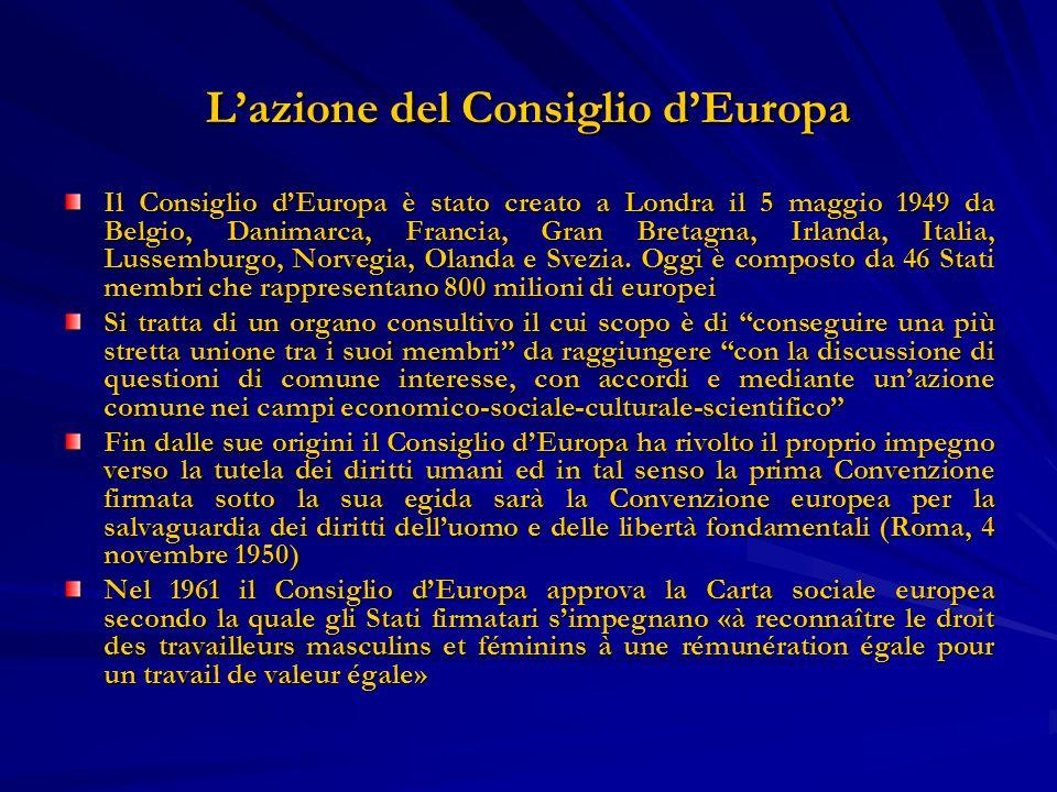 Lazione del Consiglio dEuropa Il Consiglio dEuropa è stato creato a Londra il 5 maggio 1949 da Belgio, Danimarca, Francia, Gran Bretagna, Irlanda, Ita