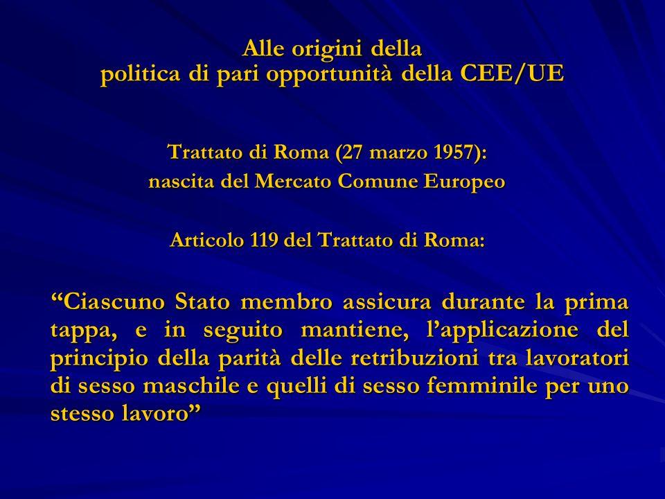 Alle origini della politica di pari opportunità della CEE/UE Trattato di Roma (27 marzo 1957): nascita del Mercato Comune Europeo Articolo 119 del Tra