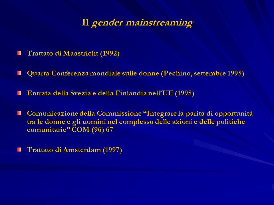 Il gender mainstreaming Trattato di Maastricht (1992) Quarta Conferenza mondiale sulle donne (Pechino, settembre 1995) Entrata della Svezia e della Fi