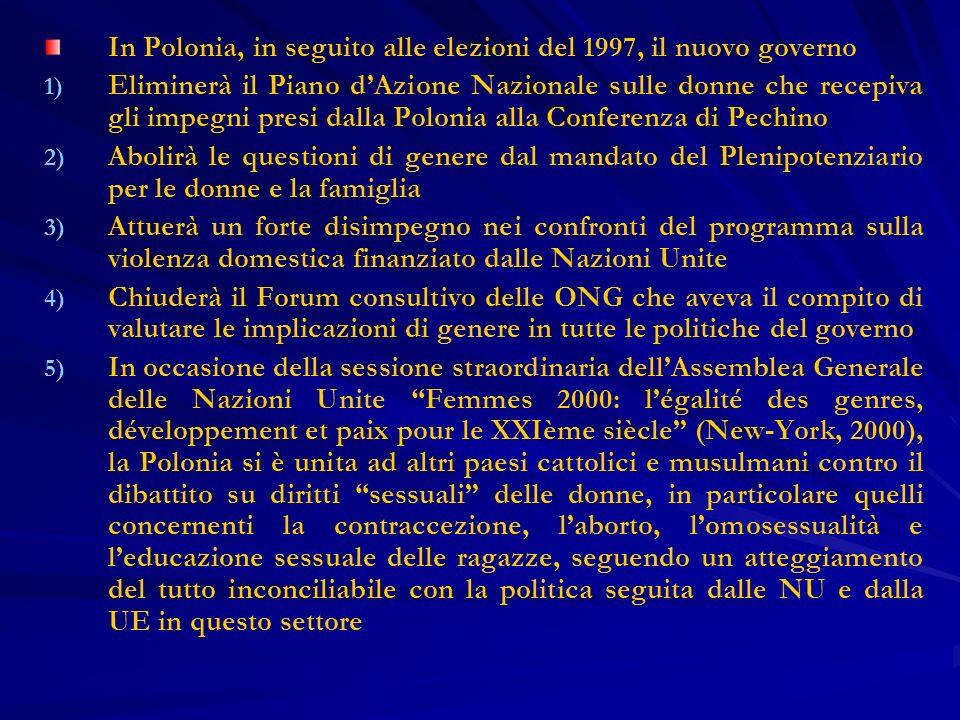 In Polonia, in seguito alle elezioni del 1997, il nuovo governo 1) 1) Eliminerà il Piano dAzione Nazionale sulle donne che recepiva gli impegni presi