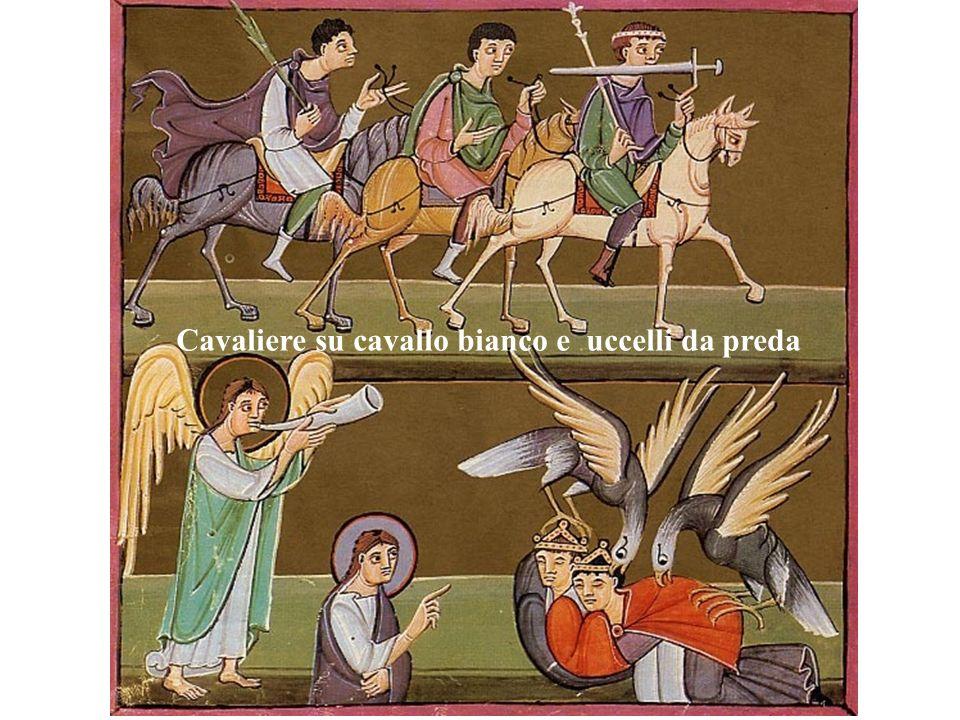 Cavaliere su cavallo bianco e uccelli da preda