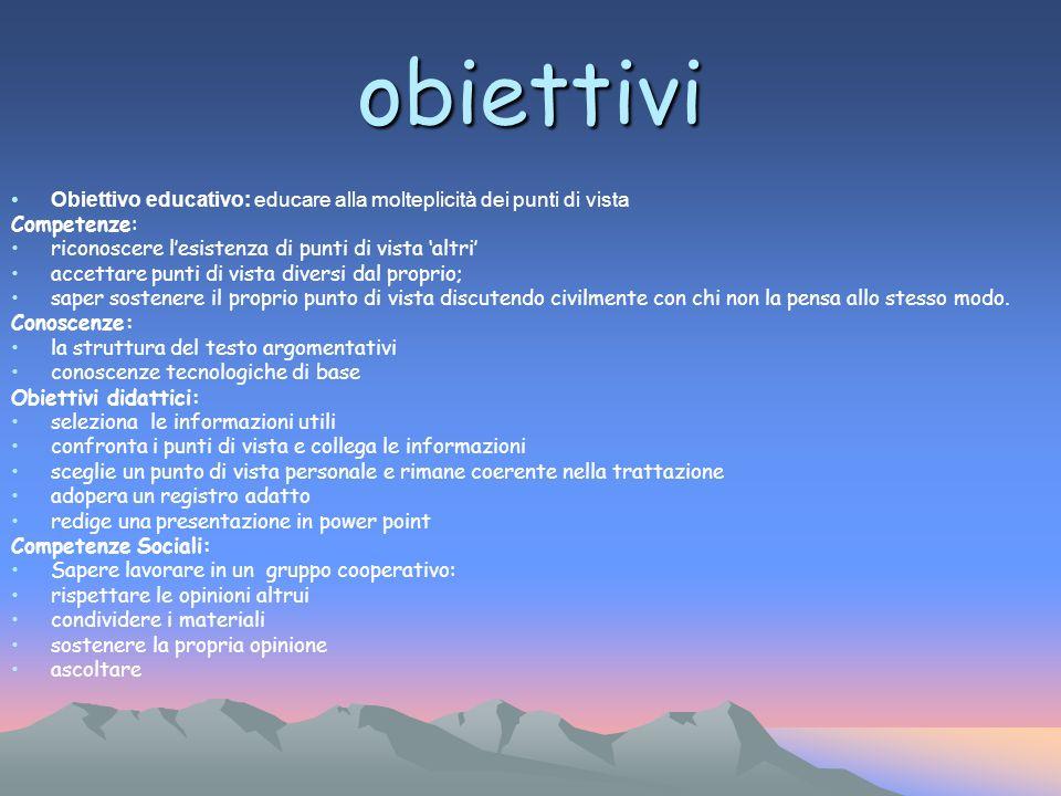 Obiettivo educativo: educare alla molteplicità dei punti di vista Competenze: riconoscere lesistenza di punti di vista altri accettare punti di vista