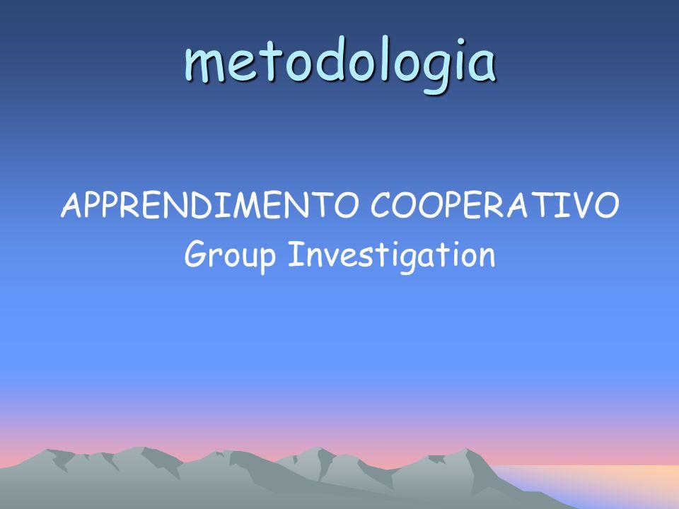APPRENDIMENTO COOPERATIVO Group Investigation metodologia