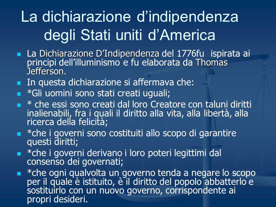 La dichiarazione dindipendenza degli Stati uniti dAmerica Dichiarazione DIndipendenza Thomas Jefferson. La Dichiarazione DIndipendenza del 1776fu ispi